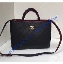 Bi-color black/burgundy Medium Quilted Shopping Bag in Golden hardware