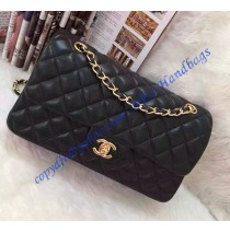 Chanel Small Classic Flap Bag in Black Lambskin with golden hardware