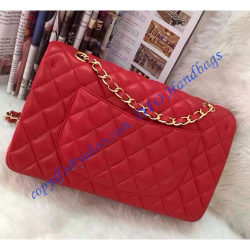 Chanel Small Classic Flap Bag In Red Lambskin With Golden