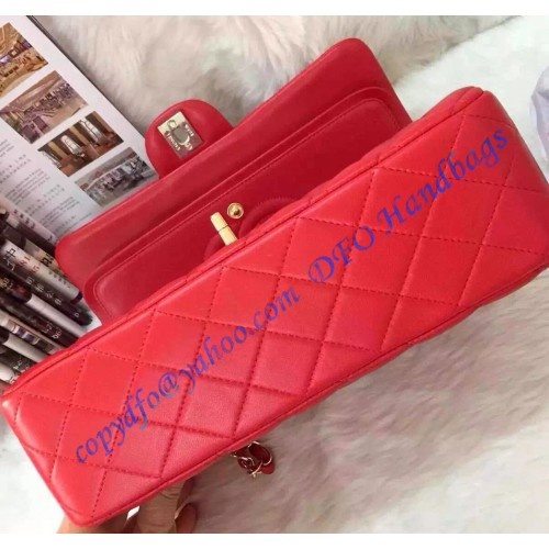 16772d9155d894 ... Chanel Small Classic Flap Bag in Red Lambskin with golden hardware ...
