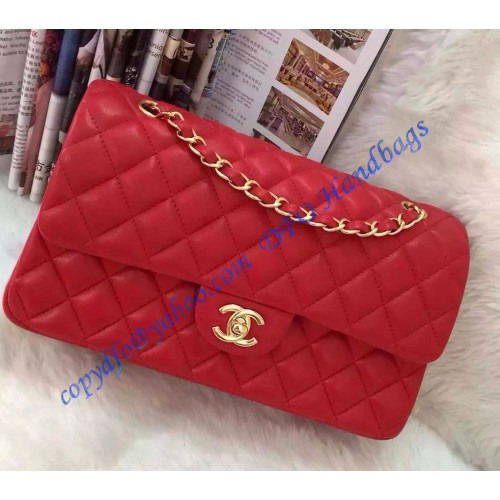 6b9c98df9a26 Chanel Small Classic Flap Bag in Red Lambskin with golden hardware. Loading  zoom