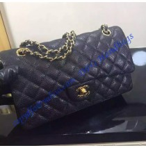 Chanel Small Classic Flap Bag in Black Caviar Leather with golden hardware