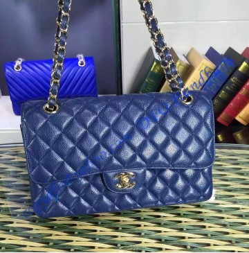Chanel Small Classic Flap Bag in Dark Blue Caviar Leather with golden hardware