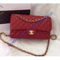 Chanel Small Classic Flap Bag in Red Caviar Leather with golden hardware