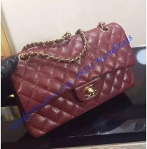 Chanel Small Classic Flap Bag in Wine Red Caviar Leather with golden hardware