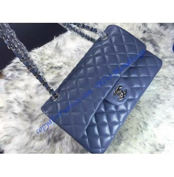 Chanel Small Classic Flap Bag in Gray Blue Lambskin with silver hardware