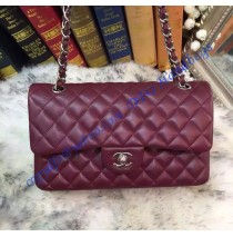 Chanel Small Classic Flap Bag in Wine Red Lambskin with silver hardware