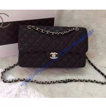 Chanel Small Classic Flap Bag in Black Caviar Leather with silver hardware