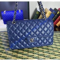 Chanel Small Classic Flap Bag in Dark Blue Caviar Leather with silver hardware