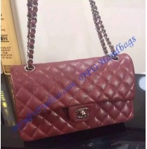 Chanel Small Classic Flap Bag in Wine Red Caviar Leather with silver hardware