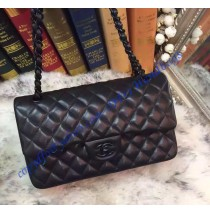 Chanel Small Classic Flap Bag in Black Lambskin with black hardware