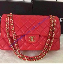 Chanel Jumbo Classic Flap Bag in Red Lambskin with golden hardware