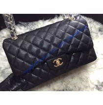 Chanel Jumbo Classic Flap Bag in Black Caviar Leather with golden hardware
