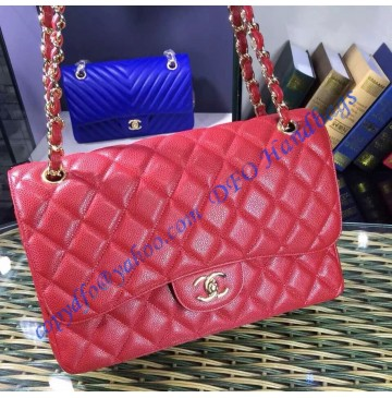 Chanel Jumbo Classic Flap Bag in Red Caviar Leather with golden hardware