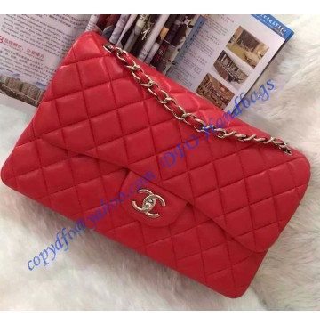 Chanel Jumbo Classic Flap Bag in Red Lambskin with silver hardware