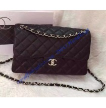 Chanel Jumbo Classic Flap Bag in Black Caviar Leather with silver hardware