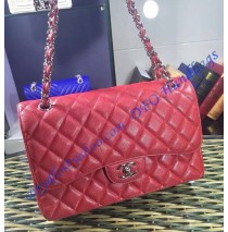 Chanel Jumbo Classic Flap Bag in Red Caviar Leather with silver hardware