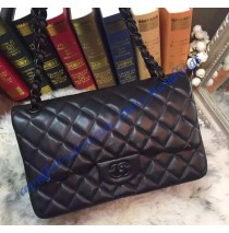 Chanel Jumbo Classic Flap Bag in Black Lambskin with black hardware