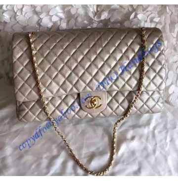 Chanel XXL Classic Flap Bag in Gold leather