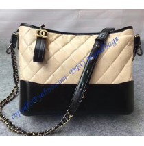 Chanel Gabrielle Hobo Bag Beige Black