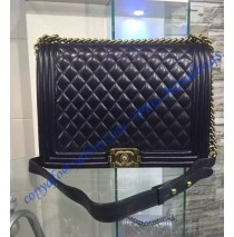 Chanel Boy Large Quilted Flap Bag in Black