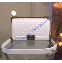 Chanel Boy Medium Quilted Flap Bag in White Grain Cowhide Leather