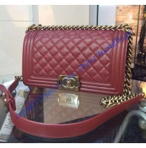 Chanel Boy Medium Quilted Flap Bag in Wine Red Grain Cowhide Leather