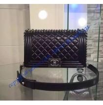 Chanel Boy Medium Quilted Flap Bag in Black Lambskin