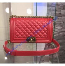 Chanel Boy Medium Quilted Flap Bag in Red Lambskin