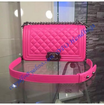 Chanel Boy Medium Quilted Flap Bag in Rose Red Lambskin