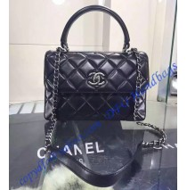 Chanel Trendy CC Flap Bag in Black Lambskin with Silver Hardware