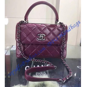 Chanel Trendy CC Flap Bag in Wine Red Lambskin with Silver Hardware