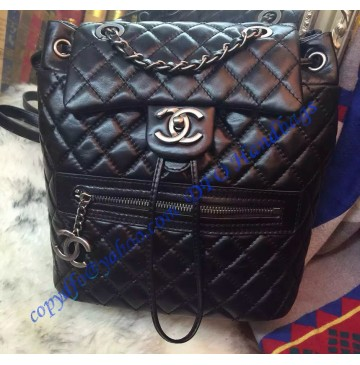 Chanel Small Classic Mountain Quilted Backpack in Black Calfskin