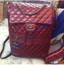 Chanel Medium Classic Mountain Quilted Backpack in Wine Red Calfskin