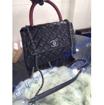 Chanel Small Coco Handle Bag in Black Grained Calfskin with Wine Red Handle