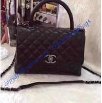 Chanel Small Coco Handle Bag in Black Calfskin with Black Handle
