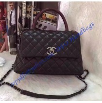 Chanel Small Coco Handle Bag in Black Calfskin with Wine Red Handle