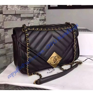 Chanel Chevron Flap Bag with Pyramid CC Clasp in Black Lambskin