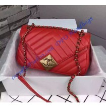 Chanel Chevron Flap Bag with Pyramid CC Clasp in Red Lambskin