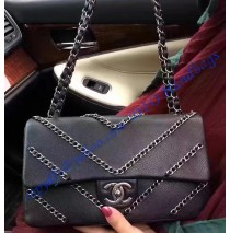 Chanel Chevron Chained Flap Bag Black