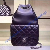 Chanel Quilted Drawstring With Flap Bag in Black Lambskin