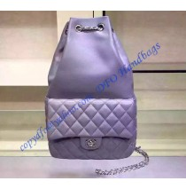 Chanel Quilted Drawstring With Flap Bag in Light Purple Lambskin