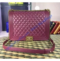 Chanel Boy Large Quilted Flap Bag in Wine Red