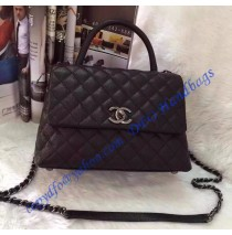 Chanel Small Coco Handle Bag in Black Grained Calfskin with Black Handle
