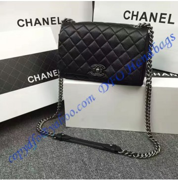 Chanel Small City Rock Flap Bag in Black Goatskin