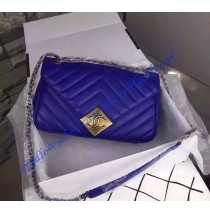 Chanel Chevron Flap Bag with Pyramid CC Clasp in Royal Blue Lambskin