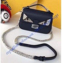 Fendi Double Micro Baguette in Dark Blue Leather with Bag Bugs Detailing