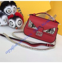 Fendi Double Micro Baguette in Red Leather with Bag Bugs Detailing