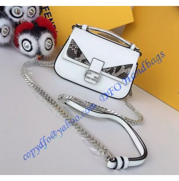 Fendi Double Micro Baguette in White Leather with Bag Bugs Detailing
