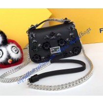 Fendi Double Micro Baguette in Black and Dark Blue Leather with Flower